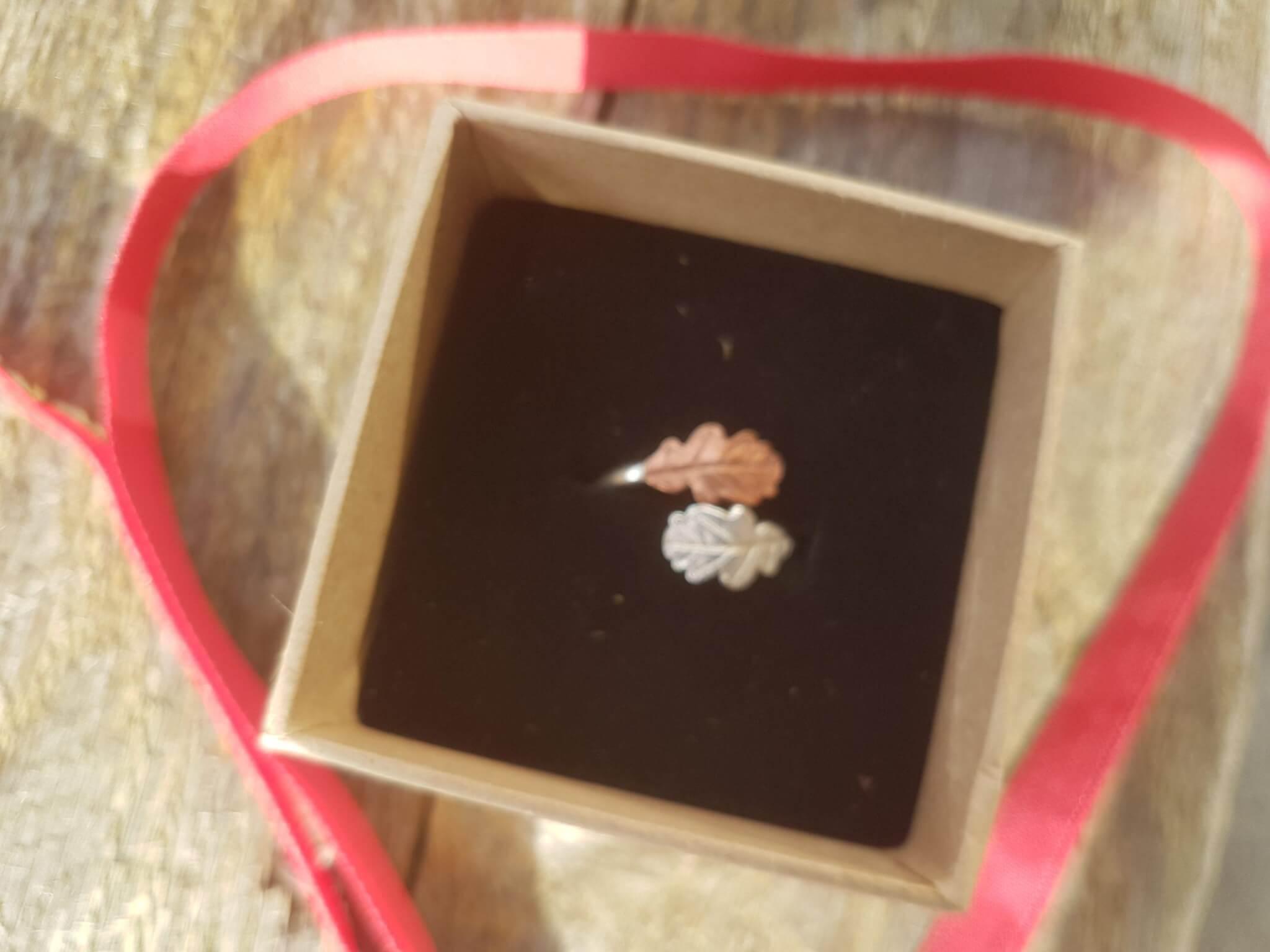 oak leaf wrap ring in gift box