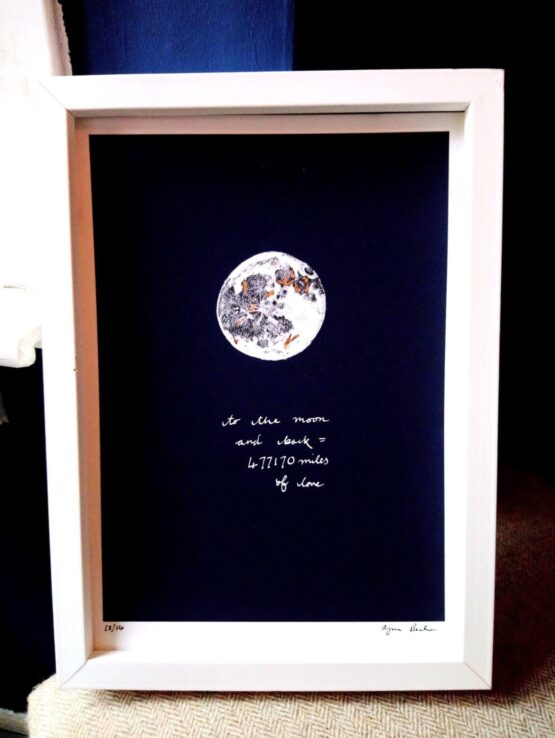 copper foil love you to the moon print