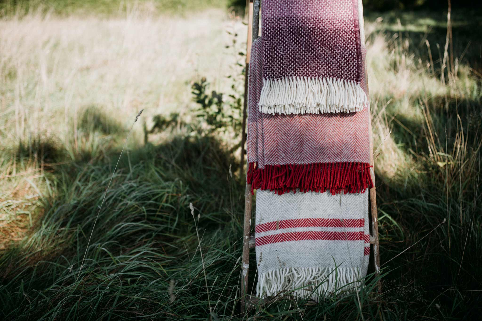 Blankets on a stand in a field