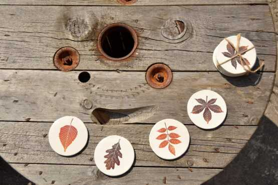 Ceramic Leaf Print Coasters Main Image