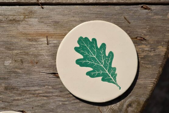 CBK Spring Green Oak Leaf Coaster