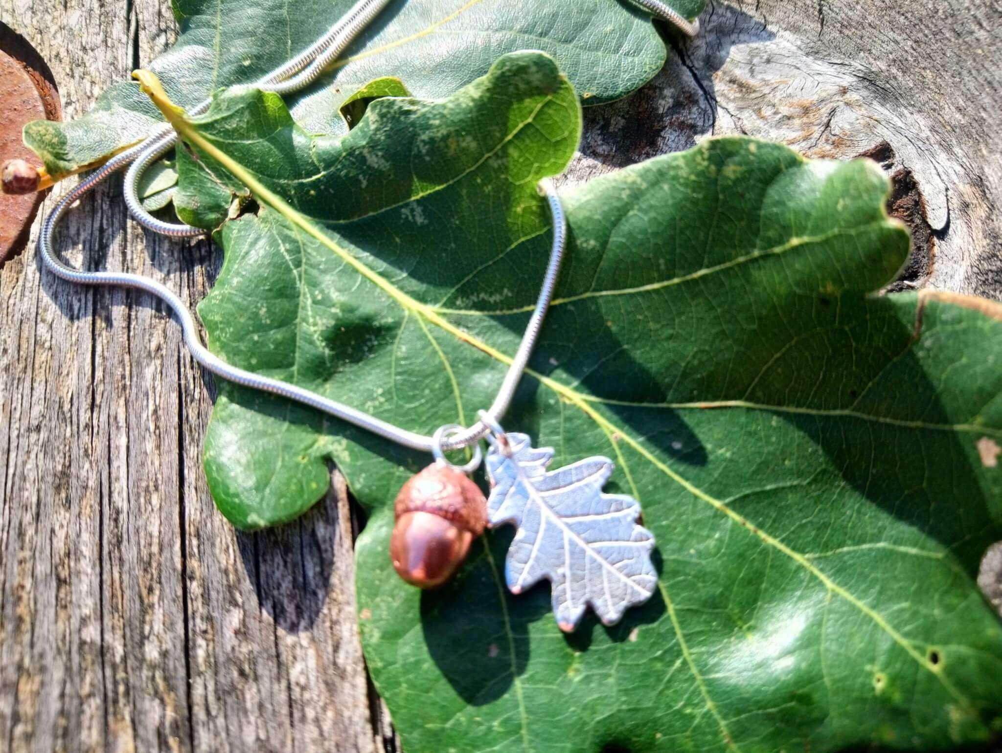 copper acorn silver oak leaf necklace