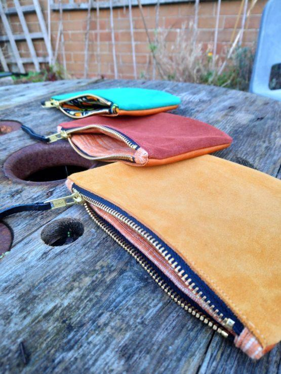 Inside of suede leather purses