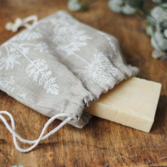 linen soap bag close up