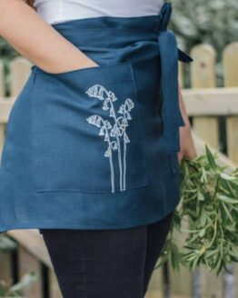 HELEN-ROUND-Linen-Apron-Navy-Blue-Bluebell Print