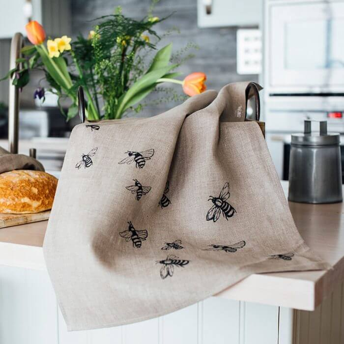 Linen Honey Bee Print Tea Towel