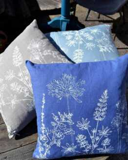 Helen Round linen Garden print cushions