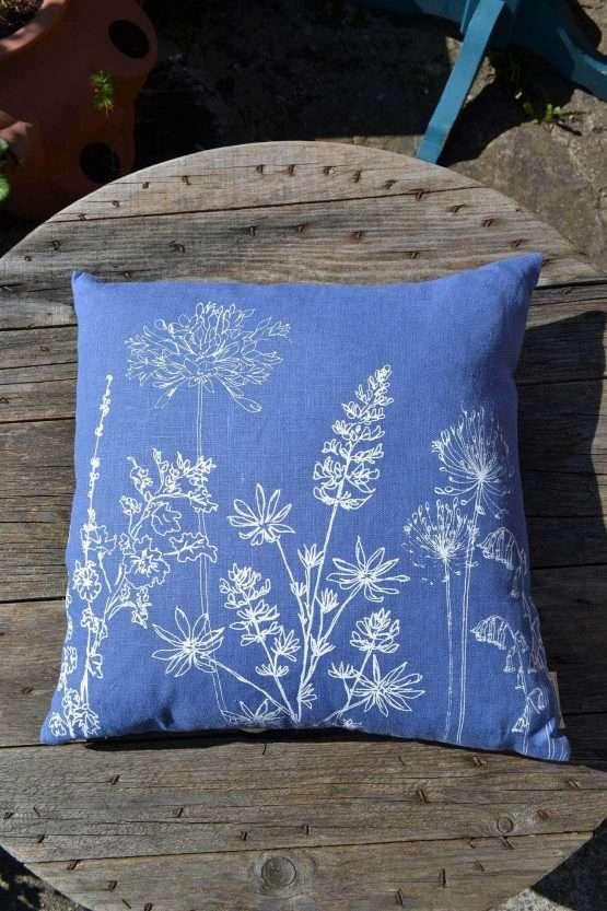 helen round indigo linen garden print cushion