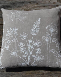 Helen round natural linen garden print cushion