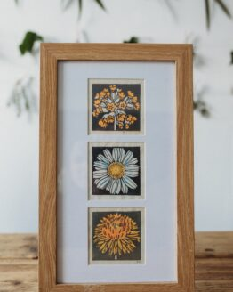 Striped pebble framed wildflower yellow prints