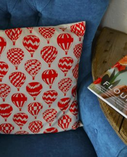 Megan Alice England Coral Orange Print Cushion