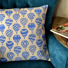 Megan Alice England Hot Air Balloon Print Cushion