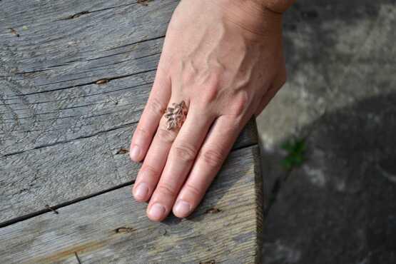Oak Leaf Ring Copper Hand