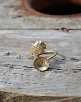Yellow Bronze Oak Leaf & Acorn Ring