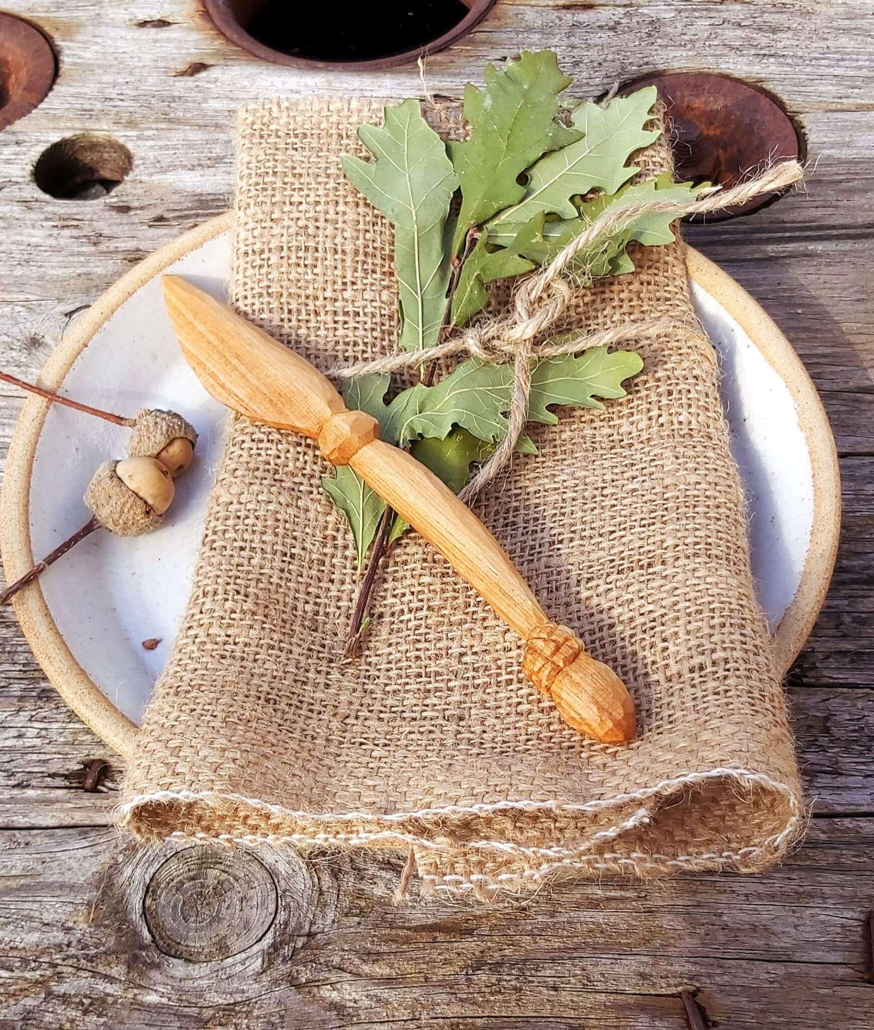 acorn wooden butter knife