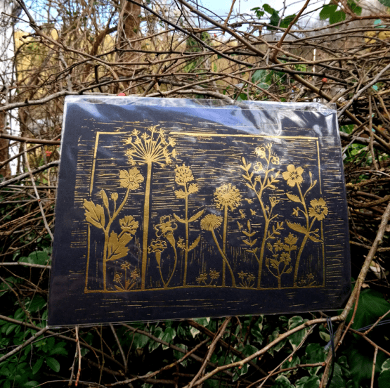 wildflower embossed gold and black print