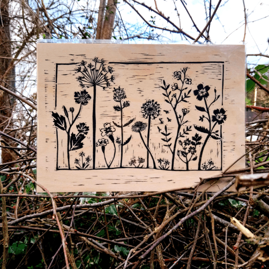 wildflower wooden print