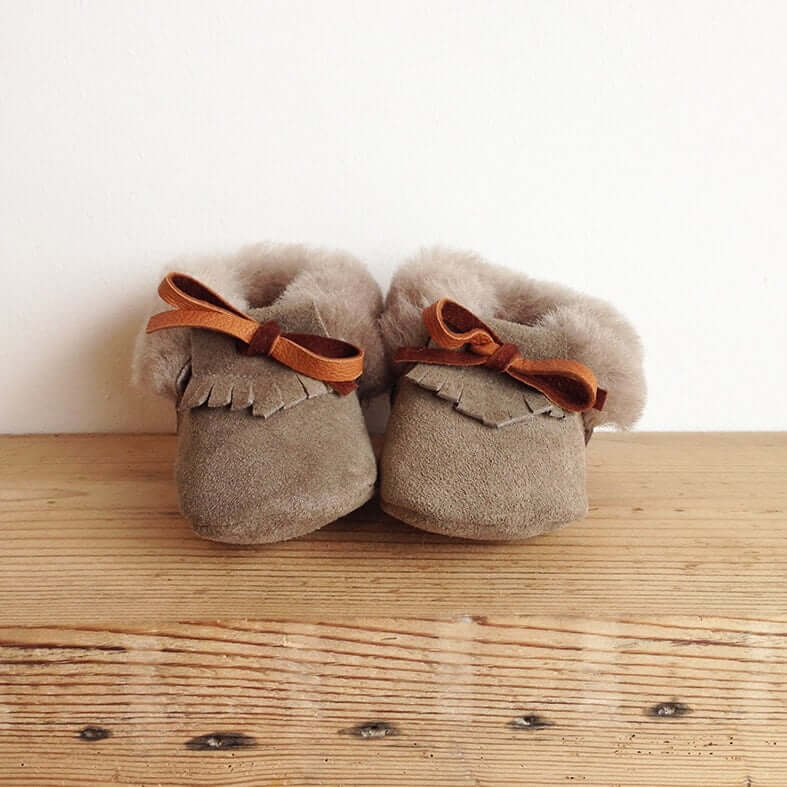 Rose Choules Baby Moccasin Pebble Front