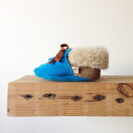 baby moccasins in kingfisher blue