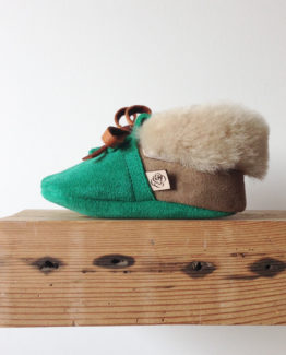 baby moccasins in sea green