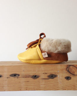 baby moccasins in lemon