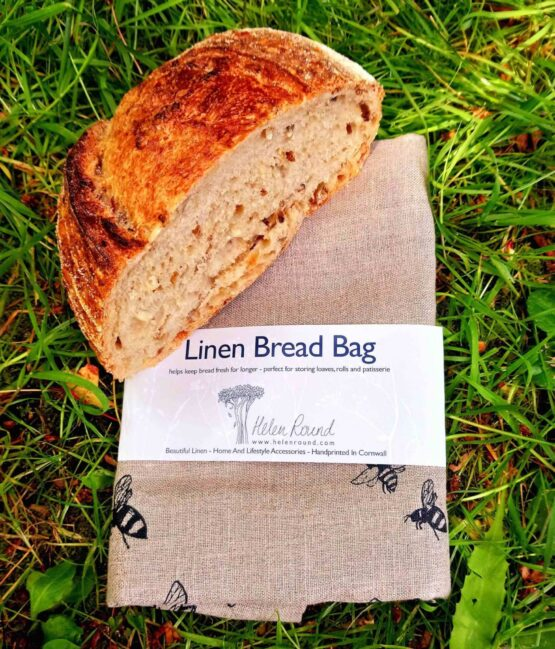 bee print bread bag with bread