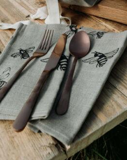 bee print linen napkins
