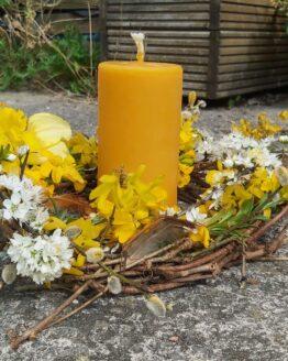 beeswax pillar candle spring