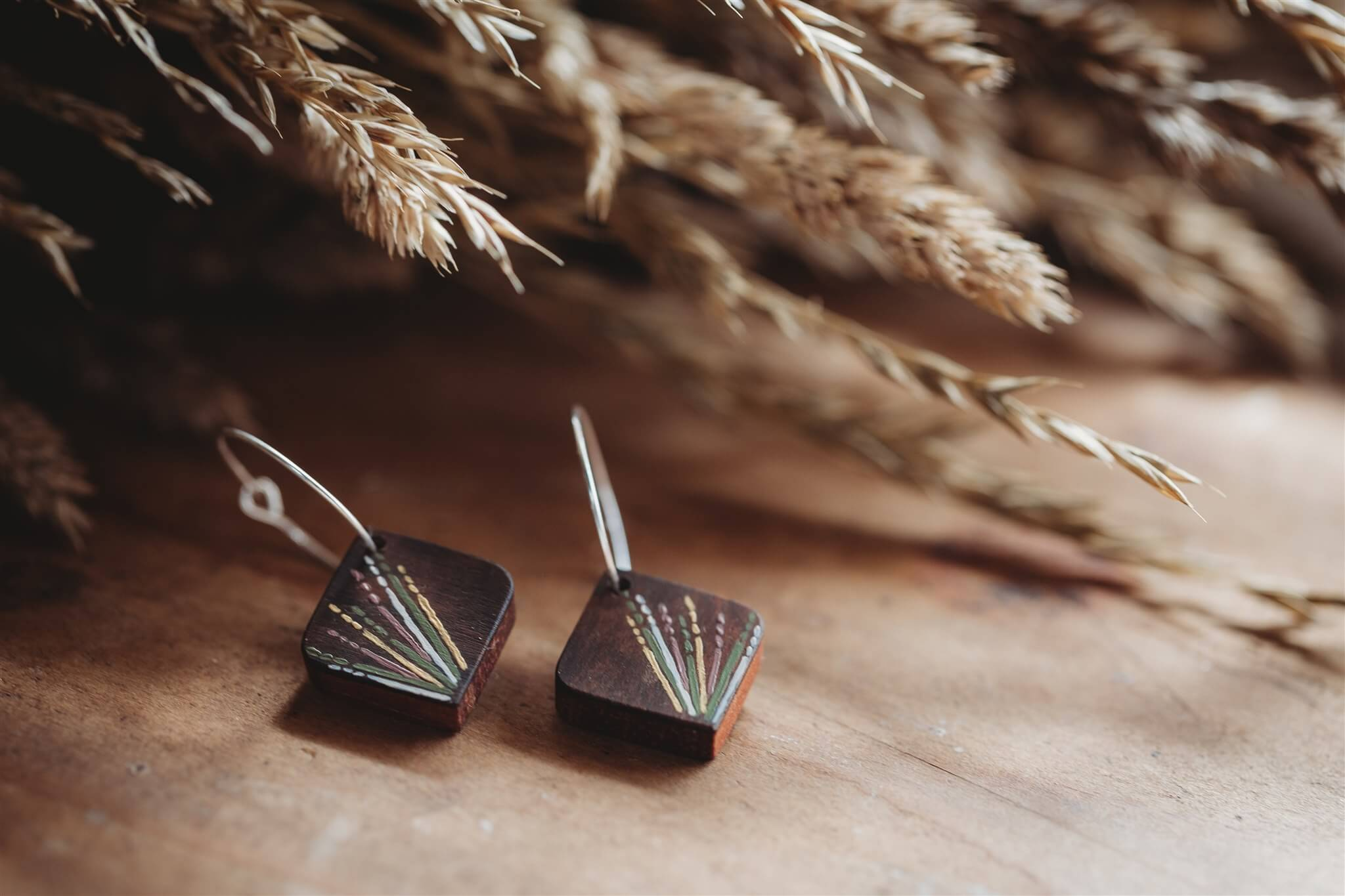 bianca rosewood square wooden earrings
