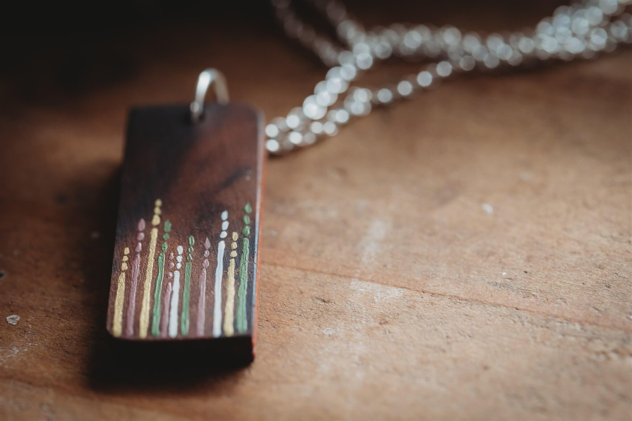 Meadow Grass Design Wooden Pendant Necklace close up