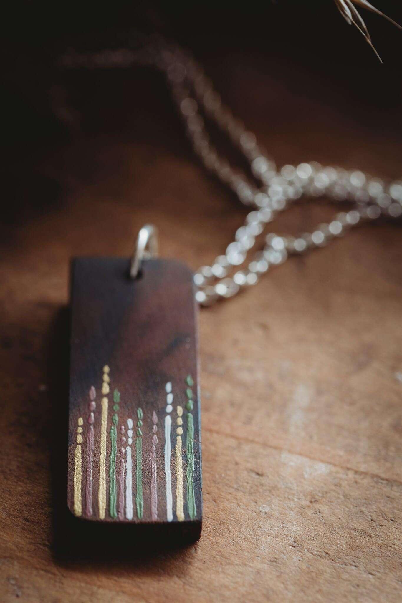 Bianca Rosewood Meadow Grass Design Wooden Pendant Necklace