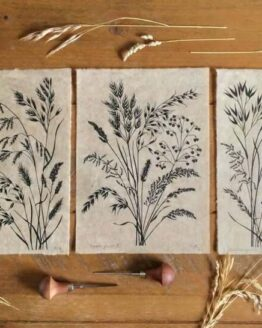 black grasses print trio