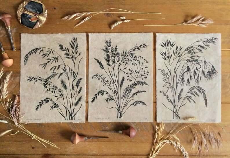 black grasses print trio