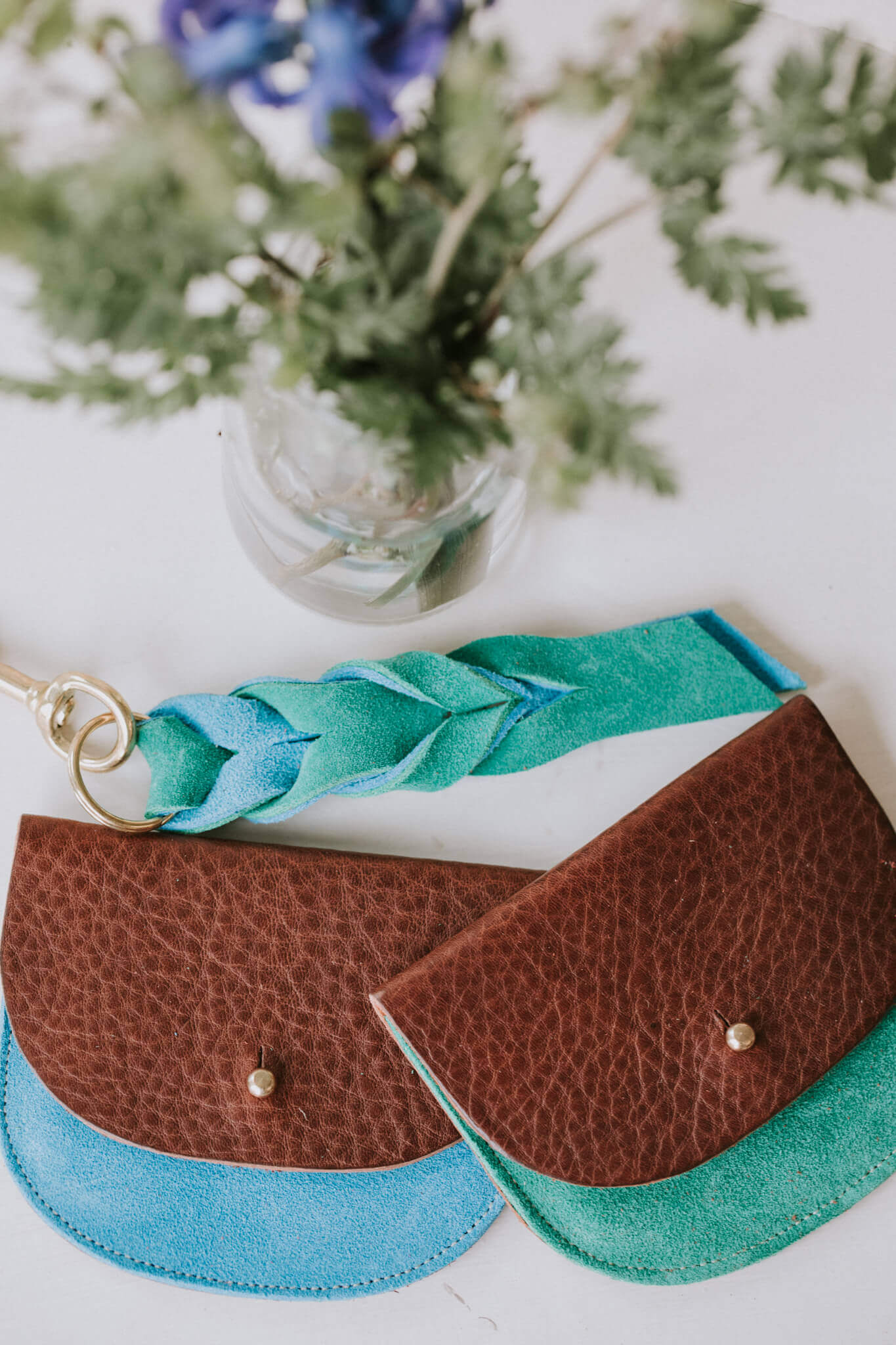 blue and green coin purses