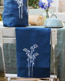 bluebell linen tea towel