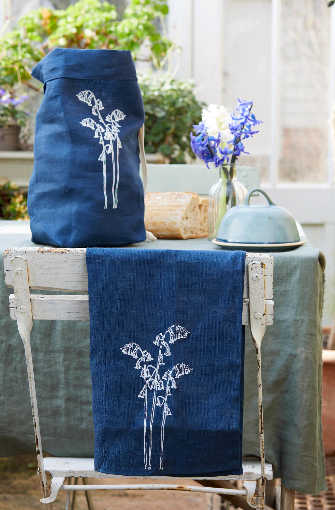 bluebell print linens