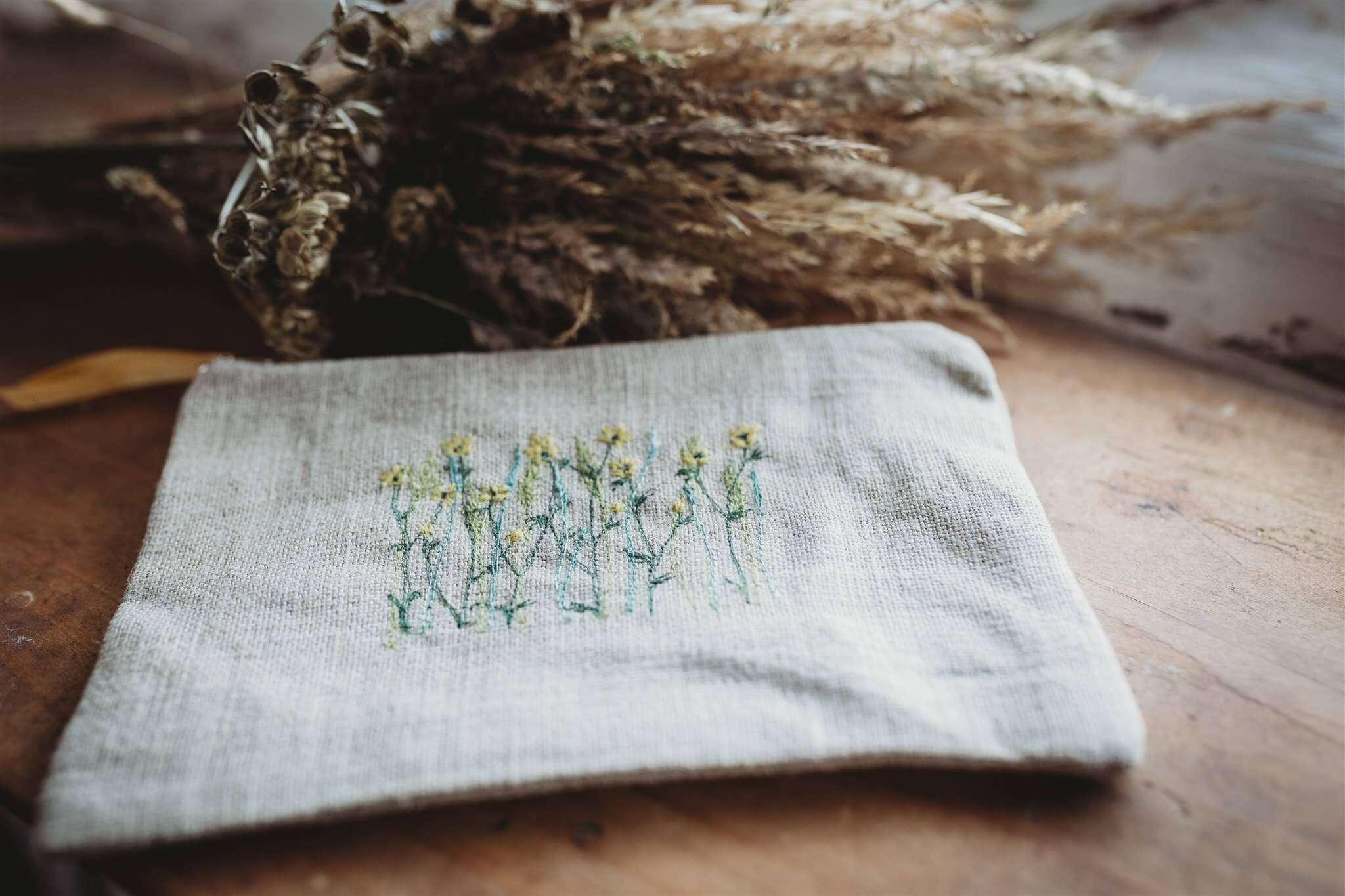 buttercup and meadow grass linen pouch