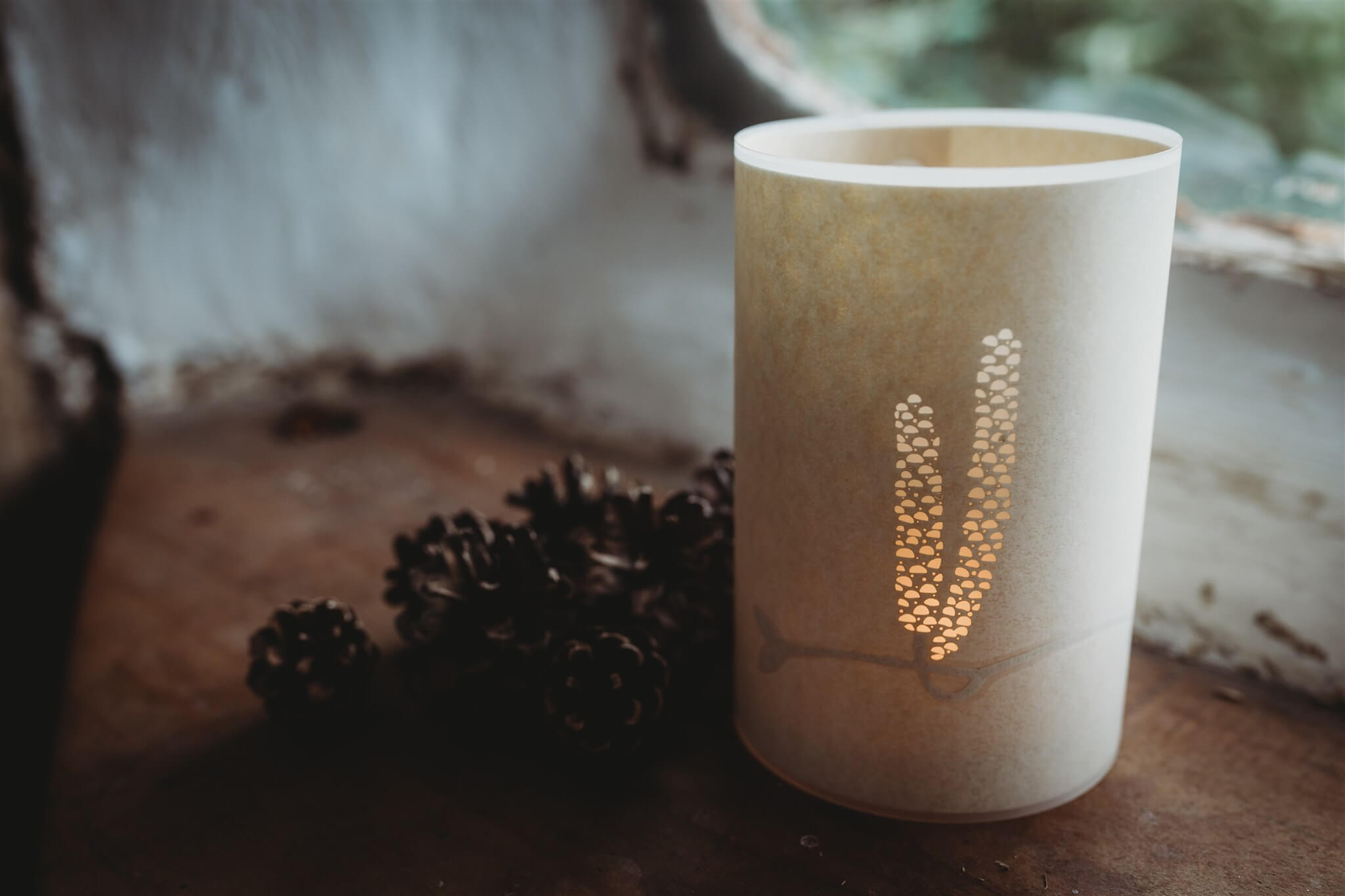 catkin candle cover styled