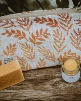 leaf print orange washbag