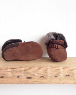Rose Choules Baby Moccasin Chocolate Sole Front
