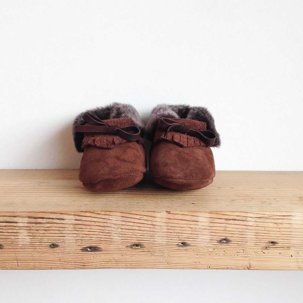 Rose Choules Baby Moccasin Chocolate Front