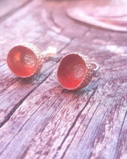 copper acorn cup stud earrings