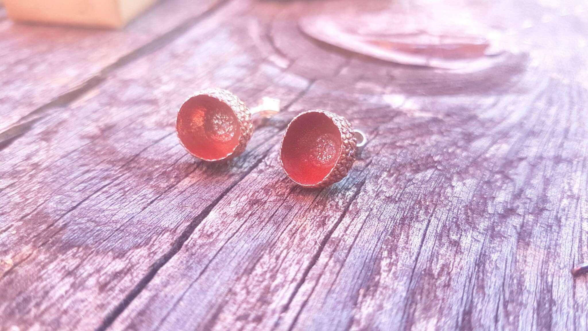 copper acorn cup stud earrings