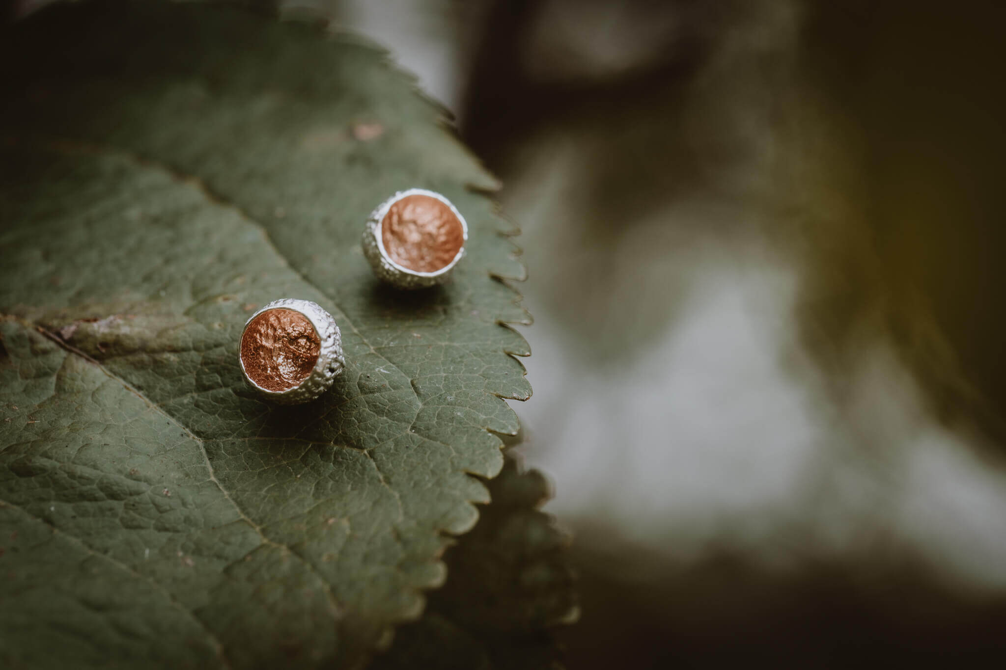 rose gold tiny acorn cup stud earrings main shot