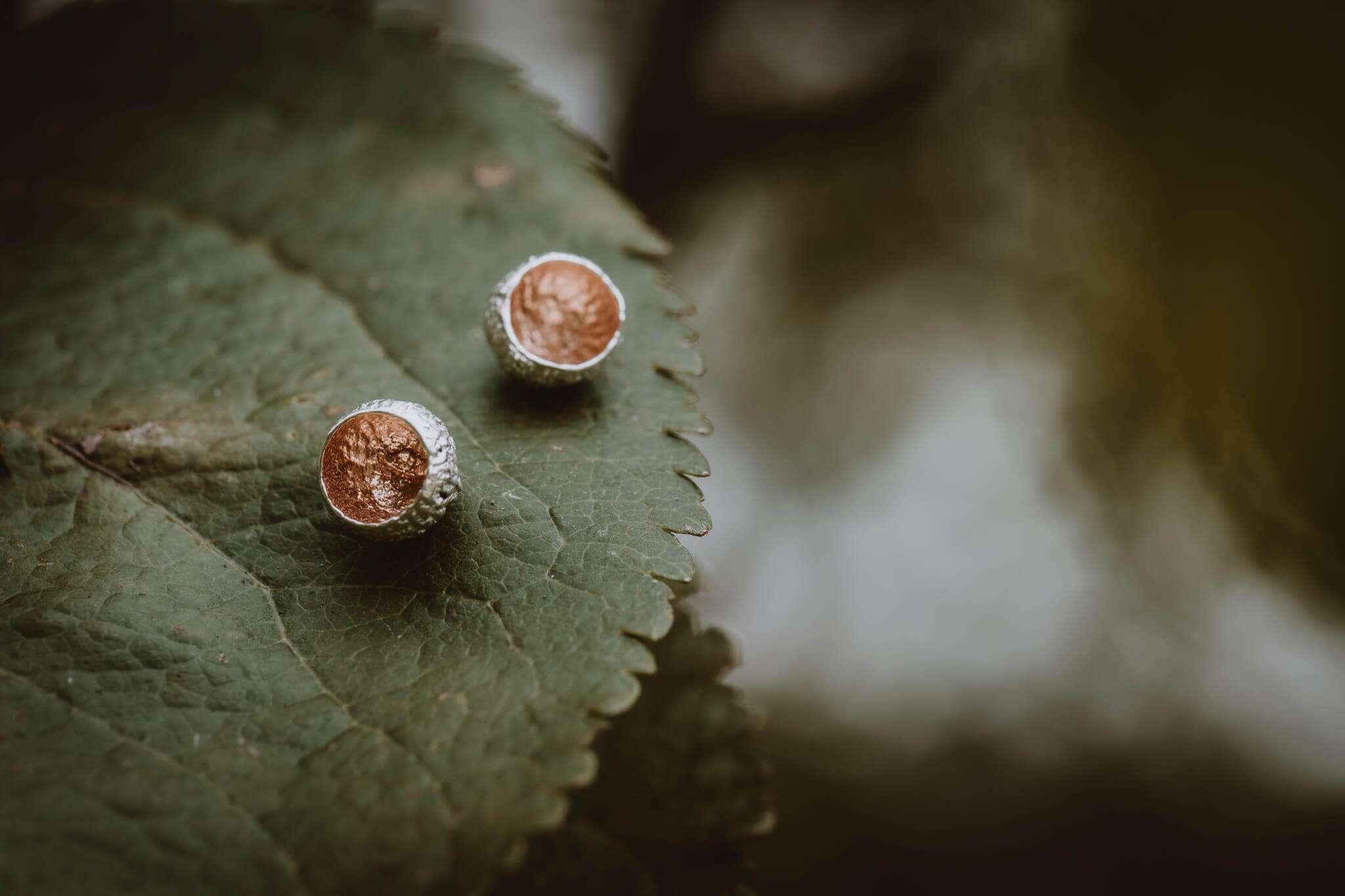 rose gold tiny acorn cup stud earrings main shot