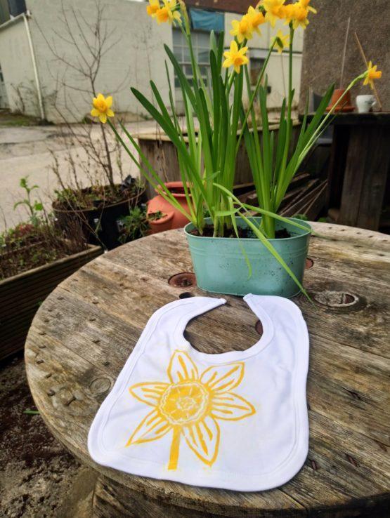 daffodil lino print organic cotton baby bib