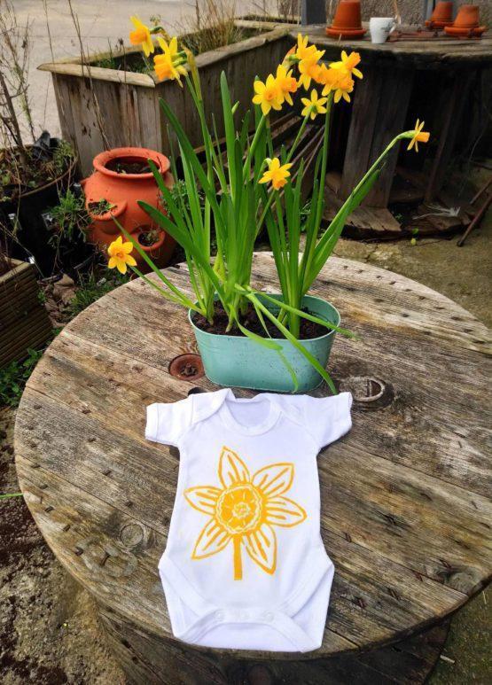 Daffodil linoprint organic cotton babygrow