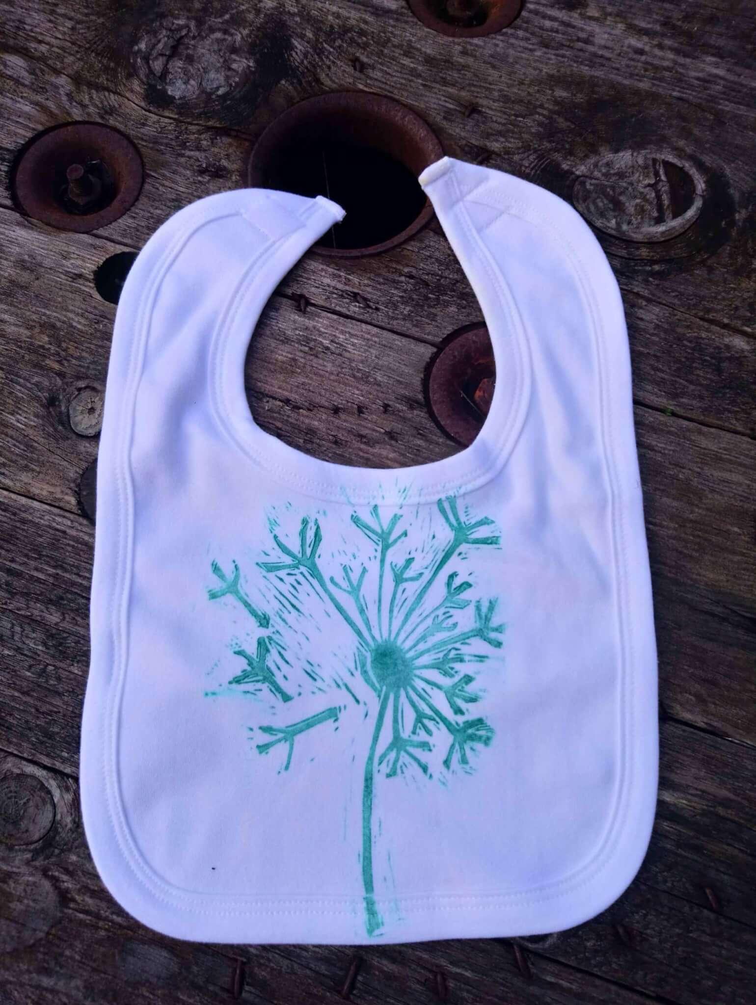 dandelion print baby bib