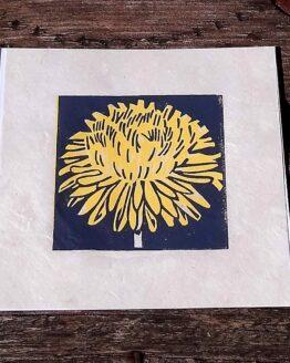 dandelion lino print