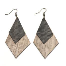 Quadrangles Wooden Earrings